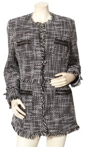 INC International Concepts Chanel Tweed Jacket Boucle Jacket Chanel Inspired Black and White Blazer