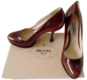 Prada Platform Brown Tobacco Brown Pumps