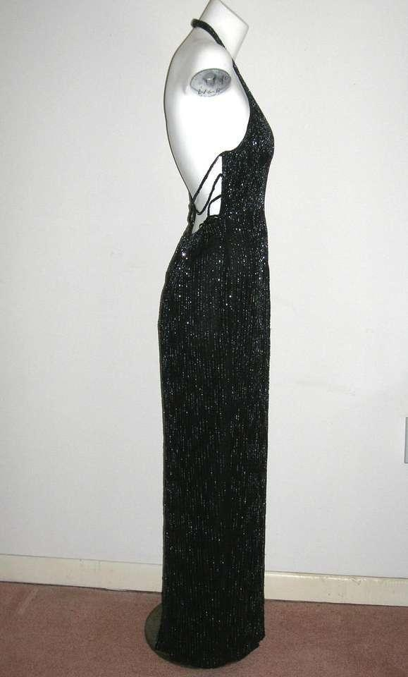 Papell Boutique Black Vintage Beaded Silk Evening Gown Beaded ...