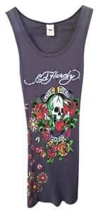 Ed Hardy Floral Top Faded Navy/purple