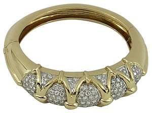Diamond Gold Bangle with Geometric Design