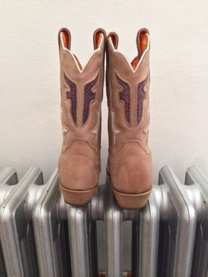 Frye Western Leather Cowboy Taupe Boots