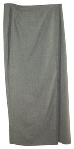 Burberry Long Fringe Wrap Maxi Skirt Gray