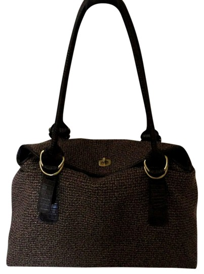Bueno Collection Tweed Leather Gold Clasp Shoulder Bag
