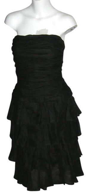 Preload https://item1.tradesy.com/images/aj-bari-black-vintage-ruched-silk-ruffled-bustier-evening-holiday-knee-length-cocktail-dress-size-8--383145-0-0.jpg?width=400&height=650