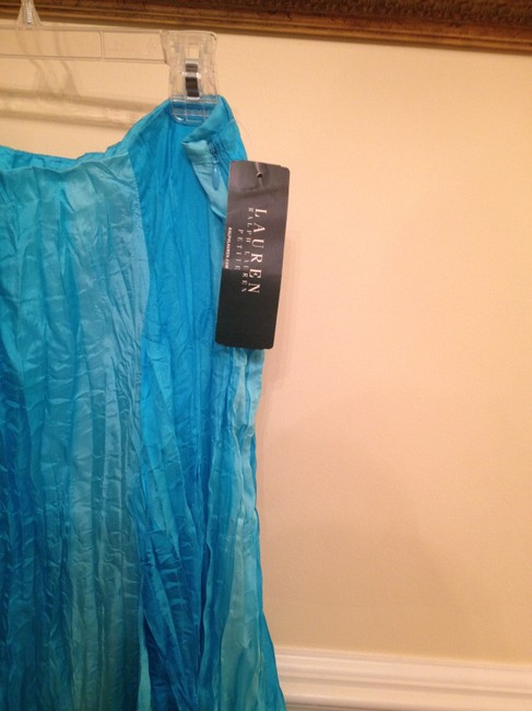 Ralph Lauren Petite 100% Silk Career A-line Skirt Shades of Turquoise