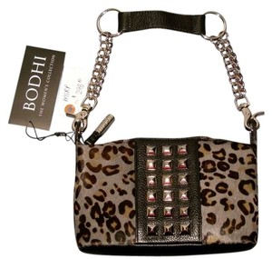Bodhi Night Date Night Unique Piece Animal Print Black and Gray Studded Clutch