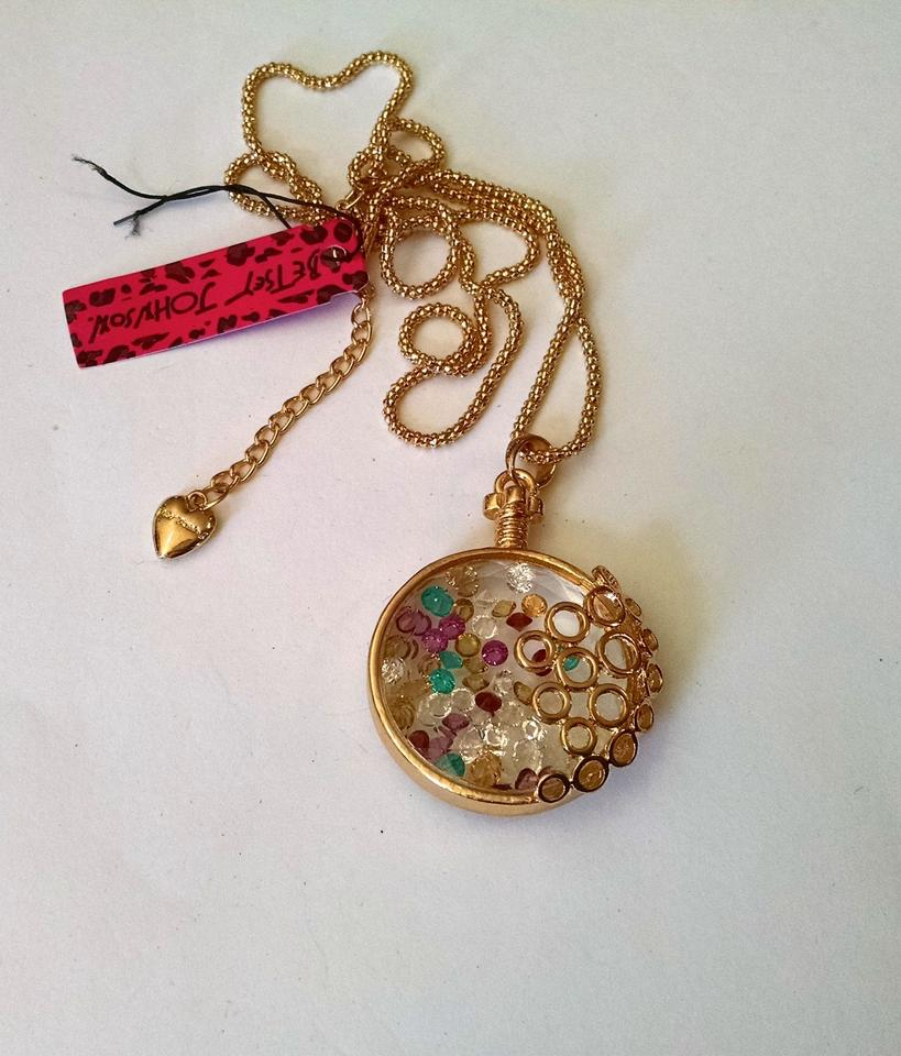 Betsey Johnson Gold Multi Colors Glass Vase Crystals Pendant J959