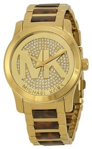 Michael Kors Michael Kors Gold-tone Tortoise-shell Crystal Pave Dial Logo Ladies Watch