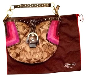 Coach Suede Dust Cover Braided Canvas Hobo Bag