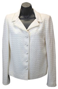 St. John Couture Shells Beige Knit Jacket Blazer