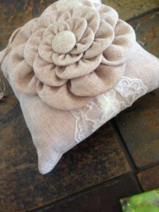 Burlap and Ivory Lace Ring Bearer Pillow