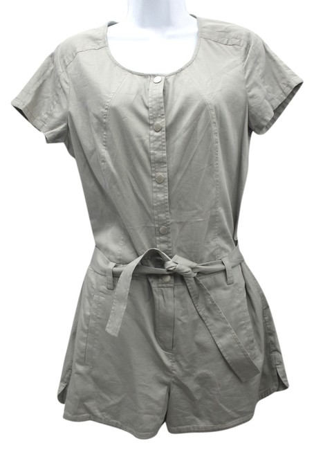 A|X Armani Exchange Light Gray Cotton Belted Dress
