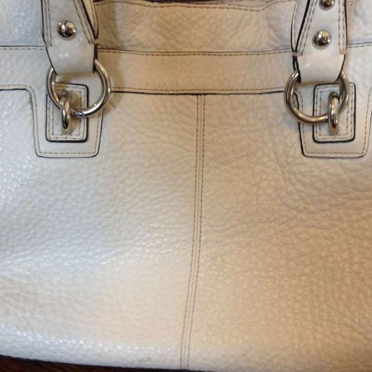 Coach Satchel in White with black trim