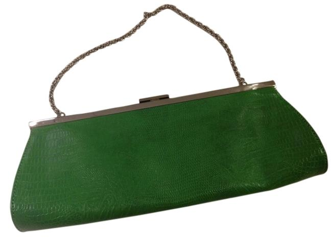 Item - Silver Hardware Lime Green Faux Snake Skin Clutch