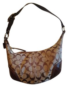Coach Small Roomy Neutral Print Leather Shoulder Bag
