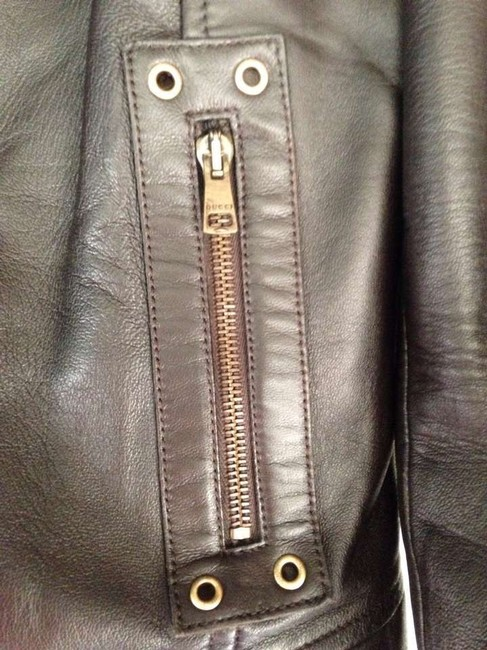 Gucci Gold Hardware Mixed Media Brown Leather Jacket
