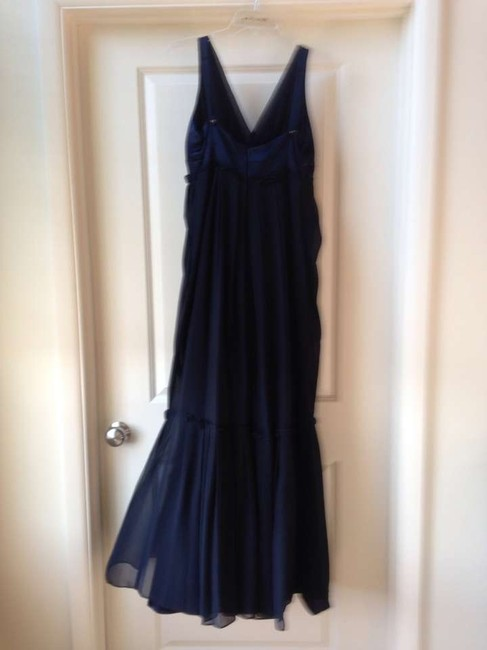 Vera Wang V Neck Gown Button Detail Gown Ruffle Dress
