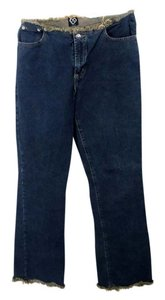 XOXO Fringed Cotton Denim Straight Leg Jeans-Dark Rinse