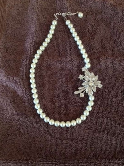 Preload https://item2.tradesy.com/images/ivory-swarovski-pearls-with-flower-rhinestone-necklace-383311-0-0.jpg?width=440&height=440