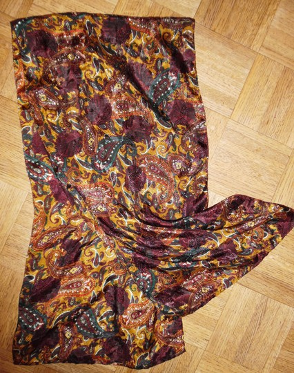 Other Paisley Plum Red White Gold Shiny Scarf
