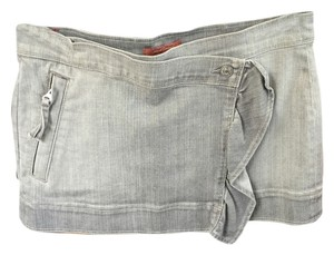 7 For All Mankind Mini Denim Mini Skirt Gray