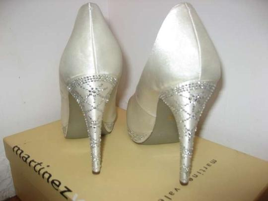 Martinez Valero Crystal Rhinestone Wedding Ivory Platforms