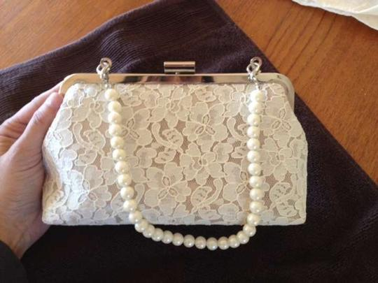 Off White Lace Clutch Purse with Detachable Pearl Handle Bridal Handbag