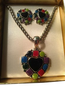 unknown Colorful heart necklace and earrings set