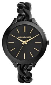 Michael Kors Michael Kors Women's Slim Runway Black Ion-Plated Stainless Steel Link Bracelet Watch 42mm MK3317