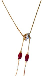 NEW 14K YELLOW GOLD NECKLACE WITH DIAMONDS AND GARNET