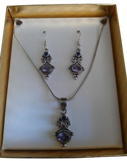 Preload https://img-static.tradesy.com/item/383413/sterling-silver-amethyst-and-and-earrings-set-necklace-0-0-540-540.jpg