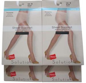 Hanes 4 Pairs Hanes Solutions Sheer Support Control Top Pantyhose Black