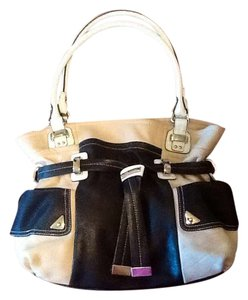 B. Makowsky Soft Leather Silver Hardware Tote in Black, Cream, and White