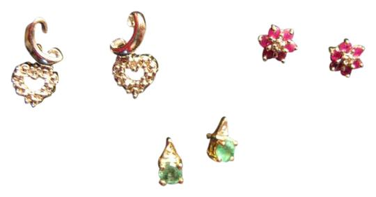 Preload https://img-static.tradesy.com/item/383499/gold-3-pairs-10k-and-natural-stone-pierced-earrings-0-0-540-540.jpg