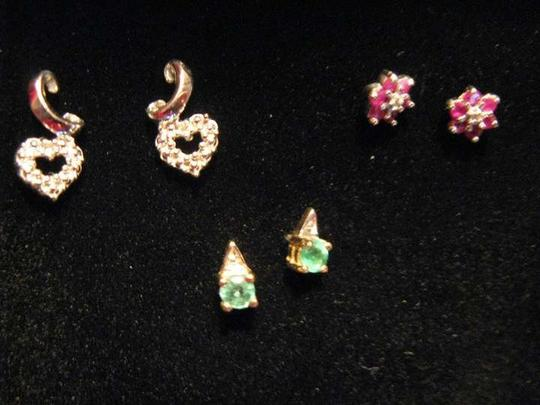Unknown 3 Pairs 10K & Natural Stone Pierced Earrings