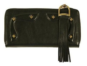 Ralph Lauren Collection Ralph Lauren Collection Black Leather Studded Zip Continental Wallet
