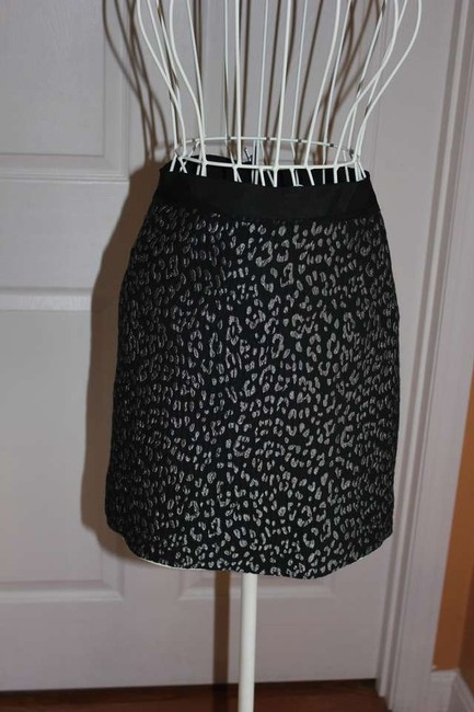 Ann Taylor Mini Skirt Black and Silver Leopard print