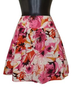 Other Flowered Ruffly Pleated Side Pockets Mini Skirt Pink, white, black, red & yellow