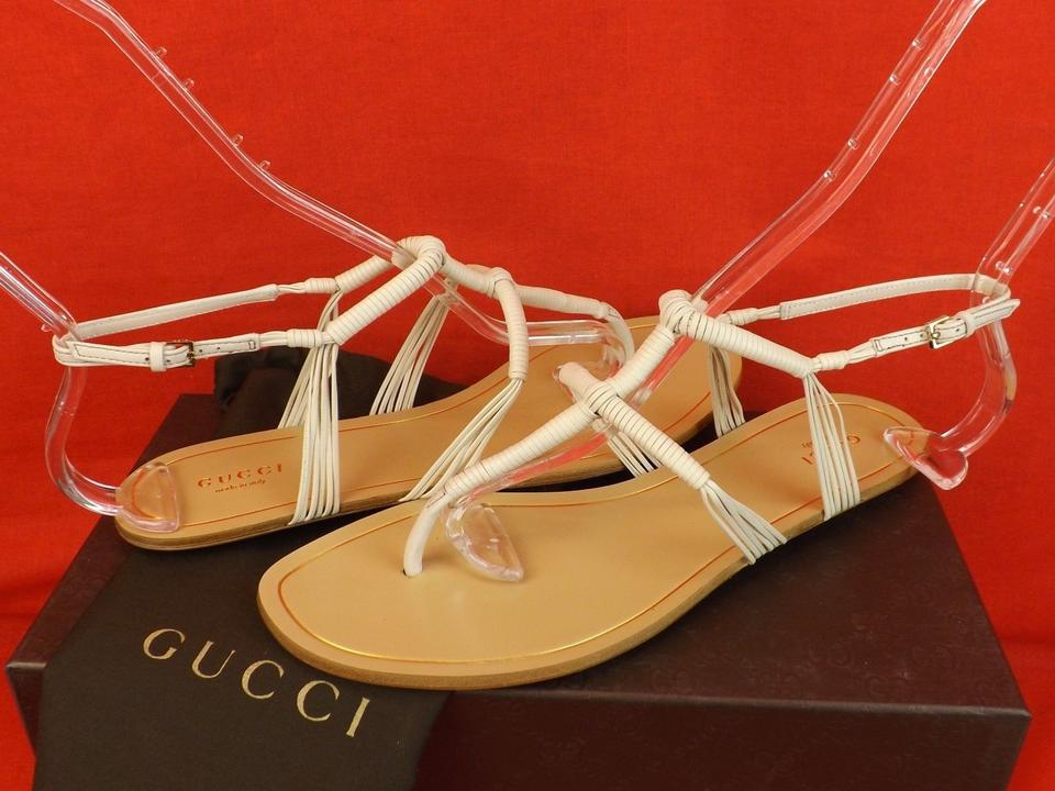 5d7043b0fcc66f Gucci Off White Anita Leather Thong Flats 39.5 Sandals Size US 9.5 ...