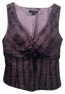 ECI New York Party V-neck Top Black & Lavender