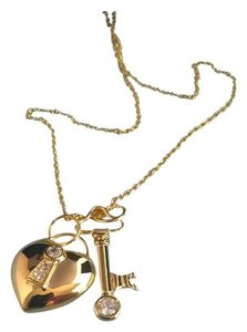 unknown Gold plated necklace with heart shaped lock and key pendants, embellished with czs