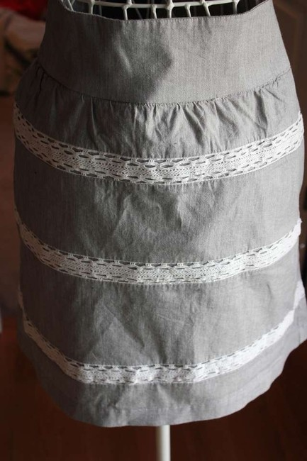 Banana Republic Mini Skirt Gray, Black and white Lace