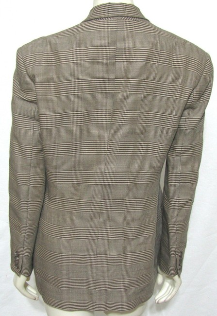 Ralph Lauren Blue Label Sport Women Plaid Checkers Tan Doublebreasted Riding Chique 8 M Medium Wool Rayon Polo Tailored Suit Office Wear brown Jacket