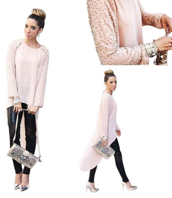 Item - Pink With Beading Tunic Size 4 (S)
