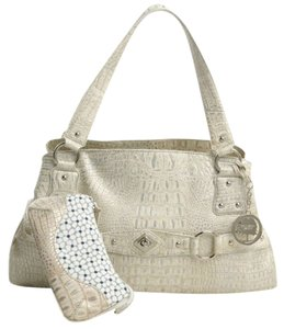 Gramercy Designs Croco Crocodile Embossed Handbag Wristlet White Grey Satchel in Croco Embossed