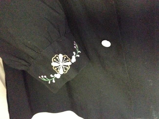 Other Vintage Made In China Embroidered Button Down Shirt Black