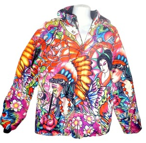 Ed Hardy Puffy Comfortable Hoodie muti colored Jacket