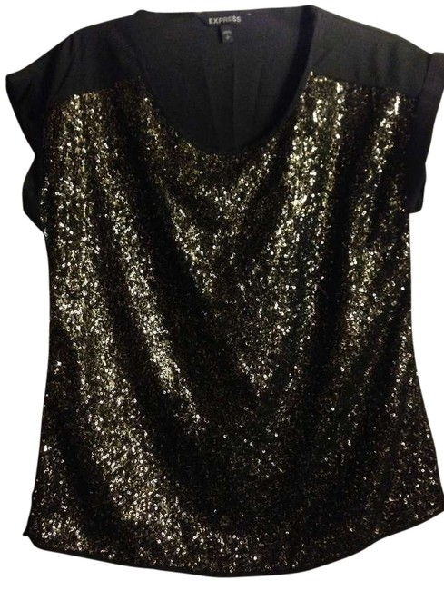 Express Sheer Sparkles Out Date Night Top Black and Gold