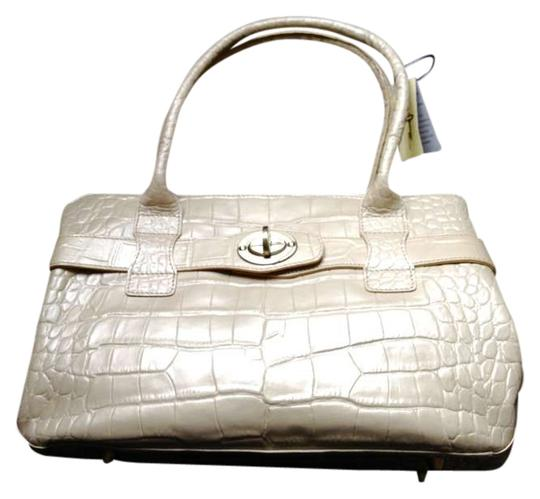 Michael Rome Croco-embossed Croco Embossed Leather Italian Cowhide Satchel in Champagne